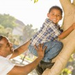 Happy Mixed Race Father Helping Son Climb a Tree — Stock Photo #11634408