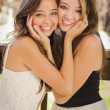 Attractive Mixed Race Girlfriends Smile Outdoors — Stock Photo #11903570