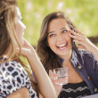 Mixed Race Girls Talking on Their Mobile Cell Phones — Stock Photo