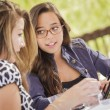 Mixed Race Girls Working Together on Tablet Computer — Stock Photo #11903682