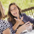 Mixed Race Girls Working Together on Tablet Computer — Stock Photo