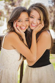 Attractive Mixed Race Girlfriends Smile Outdoors — Stock Photo
