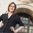 Young Pretty Businesswoman Outside in Front of City Hall — Stock Photo