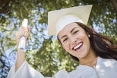 Graduating Mixed Race Girl In Cap and Gown with Diploma — Stock Photo