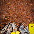 Tools on a rusty background — Stok fotoğraf