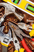 Set of tools on a metallic background — Stock Photo