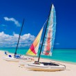 Colorful boats on a cuban beach — Stock Photo