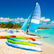 Boats for rent at a tropical beach in Cuba — Stock Photo #11127006