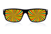 Sunglasses with a psychedelic vision — Stock Photo