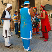 Band playing tropical music in Old Havana — Stock Photo