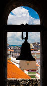 Silohuette of a bell with a view of Havana — Stock Photo