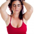 Stressed hispanic woman with a headache — Stock Photo #11652911