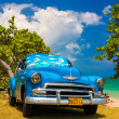 Old american car at a beach in Cuba — Stock Photo #11836852