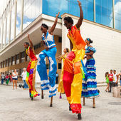 Dancers performing in a street in Old Havana — Stock Photo