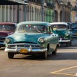 Several old american cars in Havana — Stock Photo