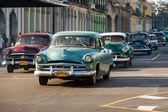 Several old american cars in Havana — Stock Photo
