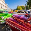 Shiny classic vintage cars parked in Old Havana — Stock Photo #12316207