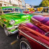 Group of classic vintage cars parked in Old Havana — Stock Photo