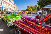 Shiny classic vintage cars parked in Old Havana — Stock Photo