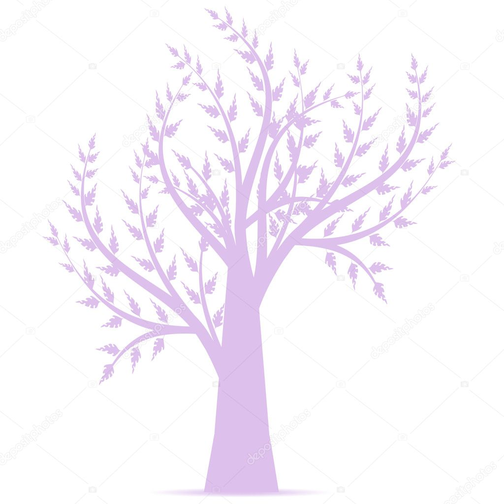Art tree silhouette isolated on white background  Stock Vector #10992080