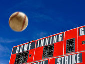 Baseball Scoreboard with Homerun — Stock Photo