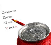 Fresh Can of Soda Pop with Survey — Stock Photo