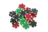 Poker chips isolated on white — Stock Photo
