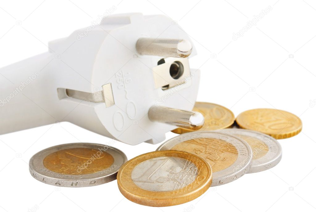 Plug with euro coins isolated on white background — Stock Photo #11095831