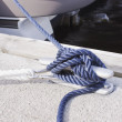 Blue rope tied on bitt — Stock Photo #11453684
