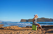 Lost young woman at seaside — Stock Photo