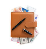 Organizer filled with money — Stock Photo