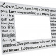 Silver photo frame with love poem - Stock Photo