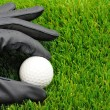 Golf ball and glove — Stock Photo