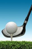 高尔夫球在球棒上三通 — 图库照片