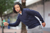 Male model hailing a cab — Stock Photo