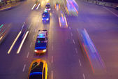 Tráfico de la noche en shanghai — Foto de Stock