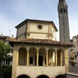 Church and cathedral belltower in Sacile — Stock Photo