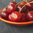 Cherries on a red plate — Stock Photo #11546031