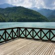 Terrace on Barcis lake - Stock Photo