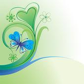 декоративный фон природа с бабочка и цветы — Cтоковый вектор