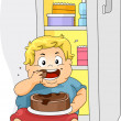 Overweight Boy Eating — Stock Photo