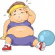 Overweight Boy Exercising — Stock Photo