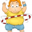 Overweight Boy Using a Hula Hoop - Stock Photo