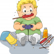 Overweight Gamer — Stock Photo
