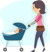 Mother Taking Her Baby for a Walk — Stock Photo