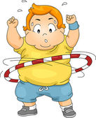 Overweight Boy Using a Hula Hoop — Stock Photo