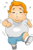 Overweight Boy Jogging — Stock Photo