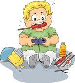 Overweight Gamer — Stock Photo