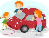 Family Car Wash — Stock Photo