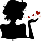 Silhouette Hearts — Stock Photo